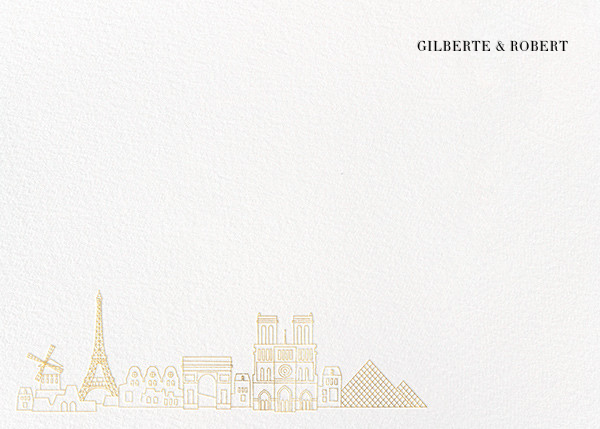 Paris Skyline View (Stationery) - White/Gold - Paperless Post - Personalized stationery