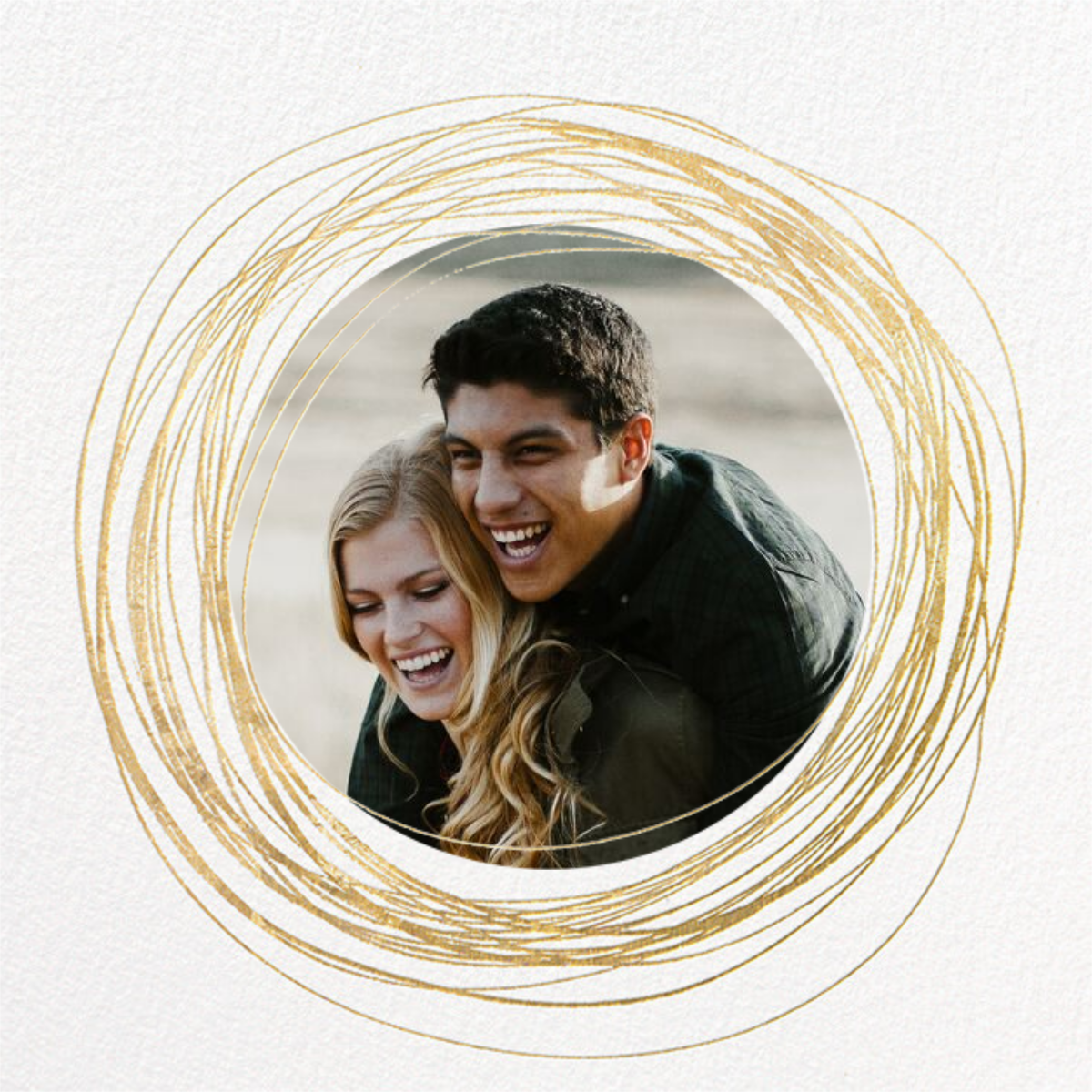 Winter Wreath (Save the Date) - White/Gold - Paperless Post - Photo