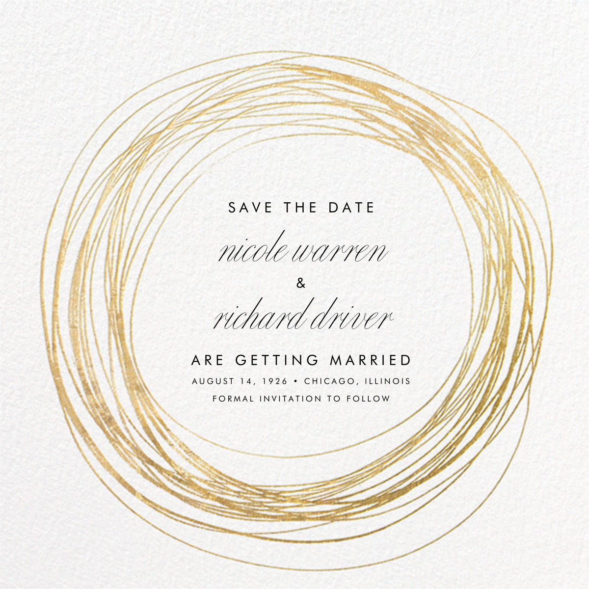 Winter Wreath (Save the Date) - White/Gold - Paperless Post - Photo  - card back