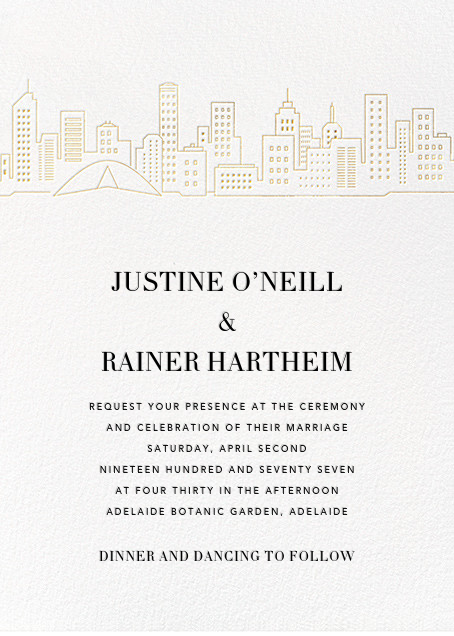 Melbourne Skyline View (Invitation) - White/Gold - Paperless Post