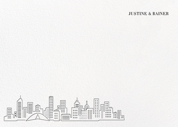 Melbourne Skyline View (Stationery) - White/Black - Paperless Post