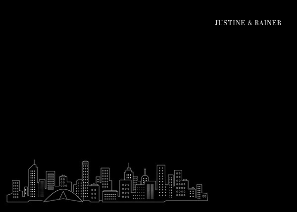 Melbourne Skyline View (Stationery) - Black/White - Paperless Post - null