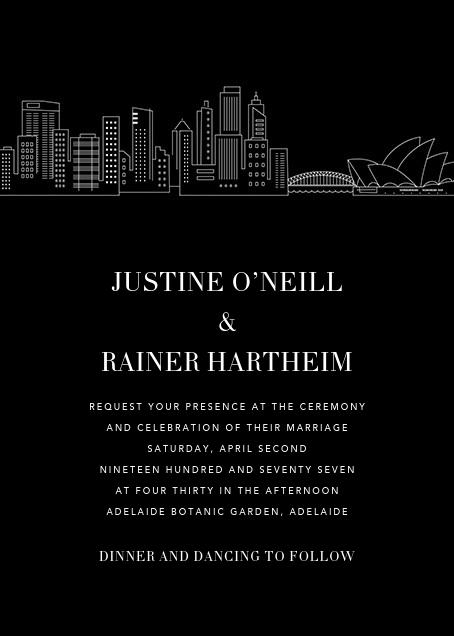 Sydney Skyline View (Invitation) - Black/White - Paperless Post