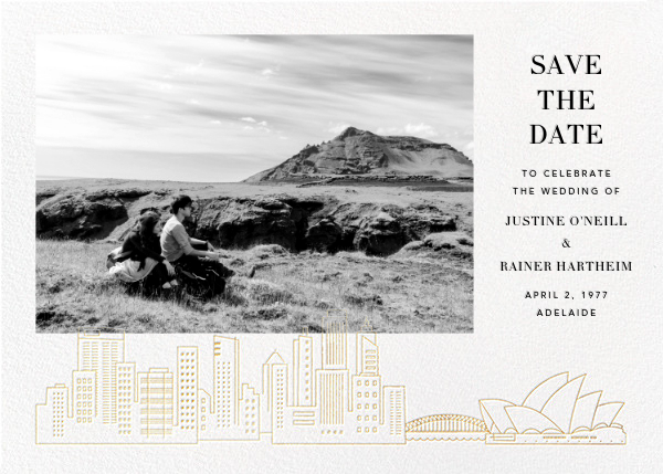 Sydney View (Photo Save the Date) - White/Gold - Paperless Post