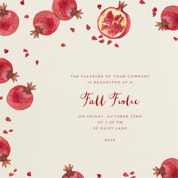 Watercolor Pomegranate - Paperless Post - Autumn entertaining