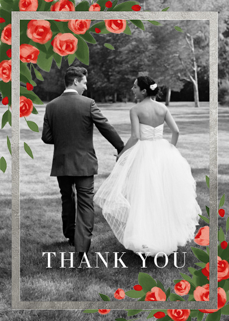 Teablossom (Photo Stationery) - Silver/Red - Paperless Post - Wedding