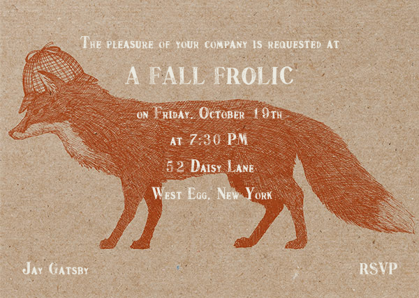 Fox and Hat - Chipboard - Paperless Post - Autumn entertaining