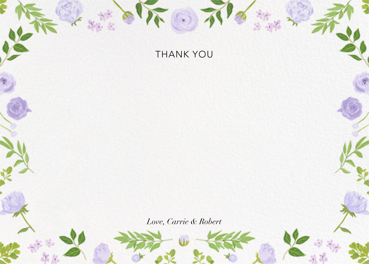 Fleurs d'Été (Photo Stationery) - Lavender - Paperless Post - Wedding - card back