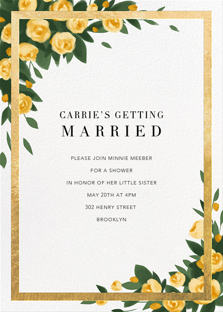 Teablossom (Invitation) - Gold/Yellow - Paperless Post - Bridal shower