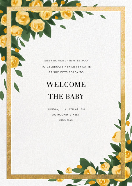 Teablossom (Invitation) - Gold/Yellow - Paperless Post - Baby shower