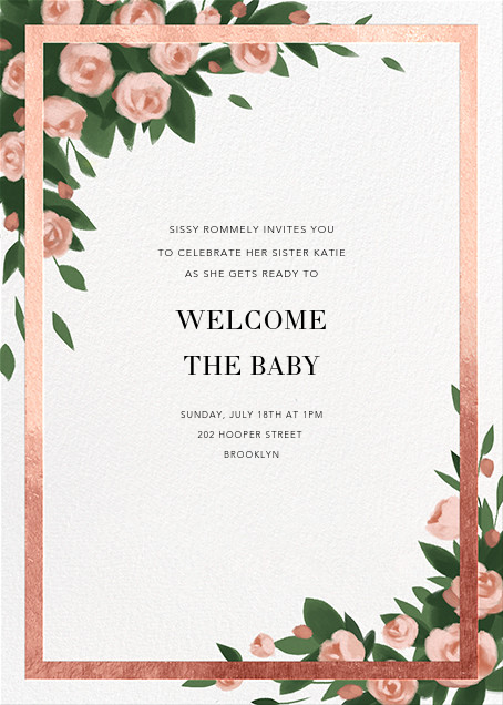Teablossom (Invitation) - Gold/Pink - Paperless Post - Baby shower