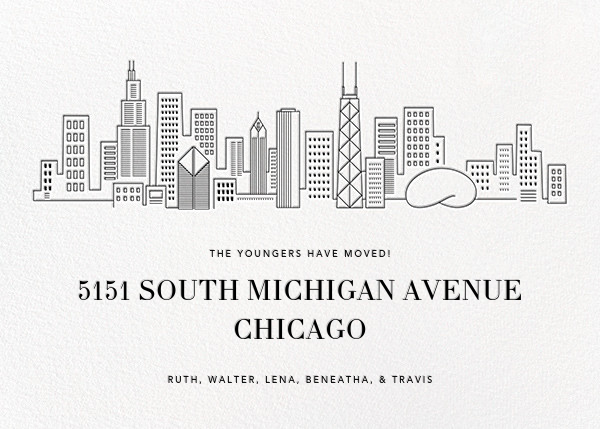 Chicago Skyline View - White/Black - Paperless Post