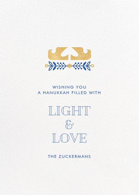 Hanukkah Doves (Greeting) - Hello!Lucky - Hanukkah - card back