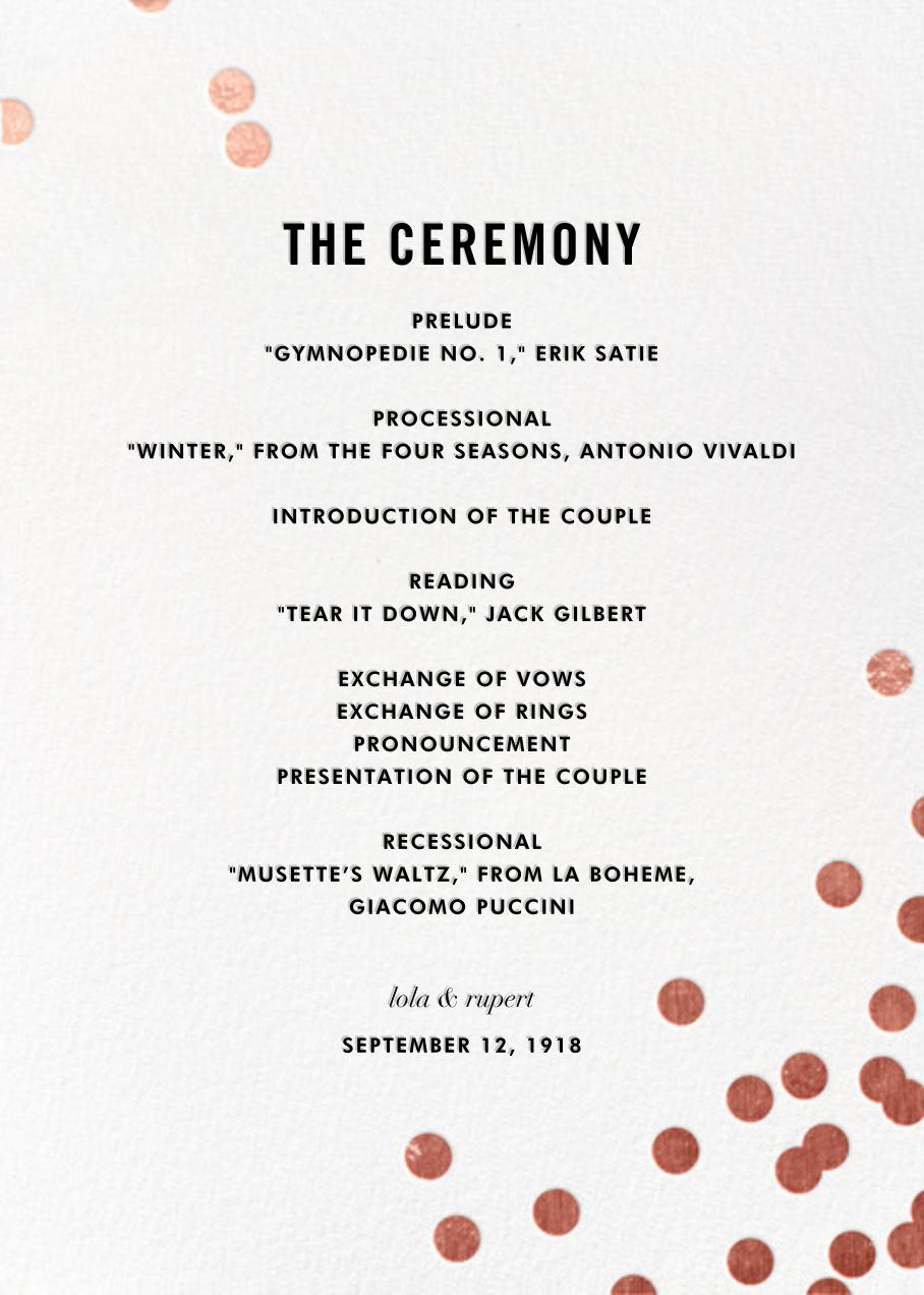Confetti (Program) - White/Rose Gold - kate spade new york - Menus and programs