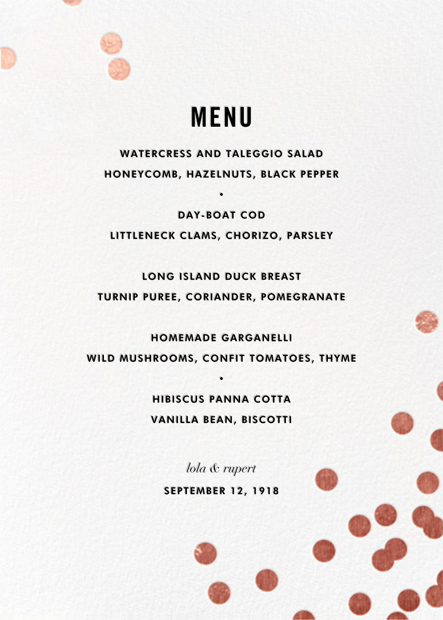 Confetti (Menu) - White/Rose Gold - kate spade new york - Menus and programs