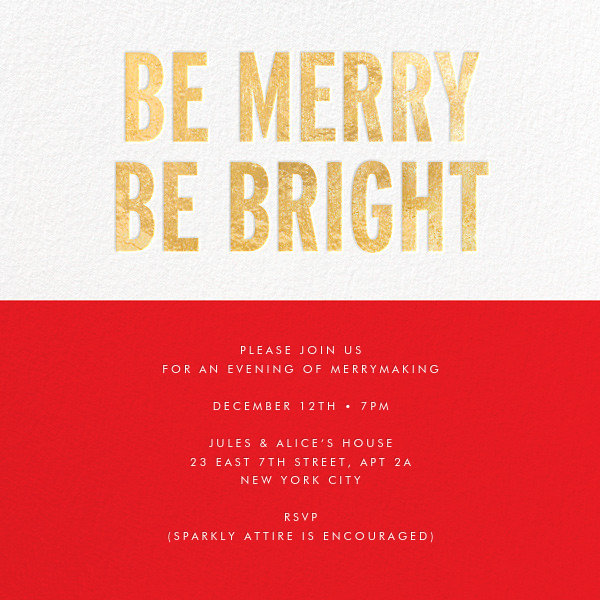 Be Merry Be Bright (Invitation) - Gold - kate spade new york - Christmas party