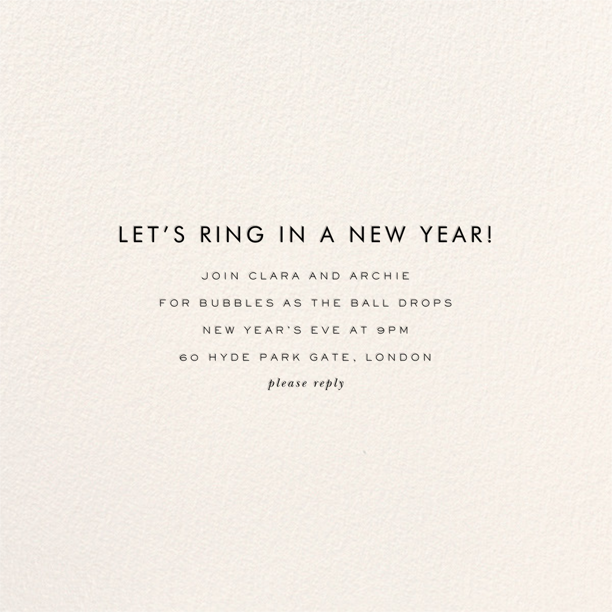 Confetti New Year (Invitation) - Gold/Cream - kate spade new york - New Year's Eve - card back