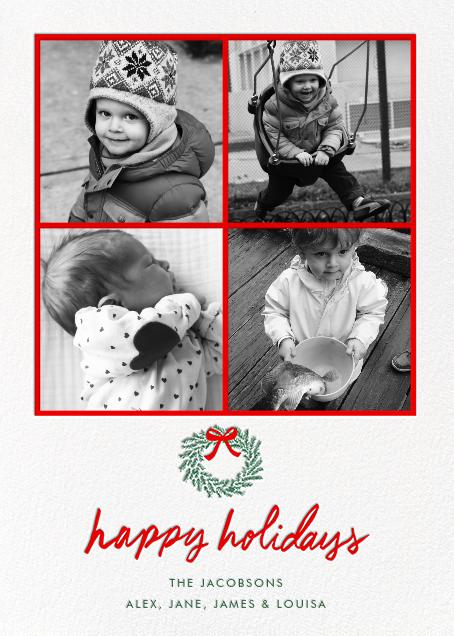 Happy Holidays Wreath (Multi-Photo) - White - Linda and Harriett
