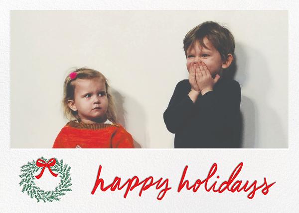 Happy Holidays Wreath (Horizontal) - White - Linda and Harriett - Holiday cards