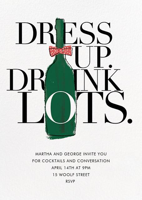Dress Up, Drink Lots - Derek Blasberg - Wine tasting invitations