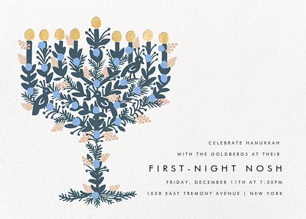 Floral Menorah (Invitation) - White - Rifle Paper Co. - Hanukkah