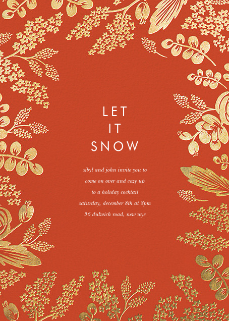 Heather and Lace (Invitation) - Red/Gold - Rifle Paper Co. - Winter entertaining