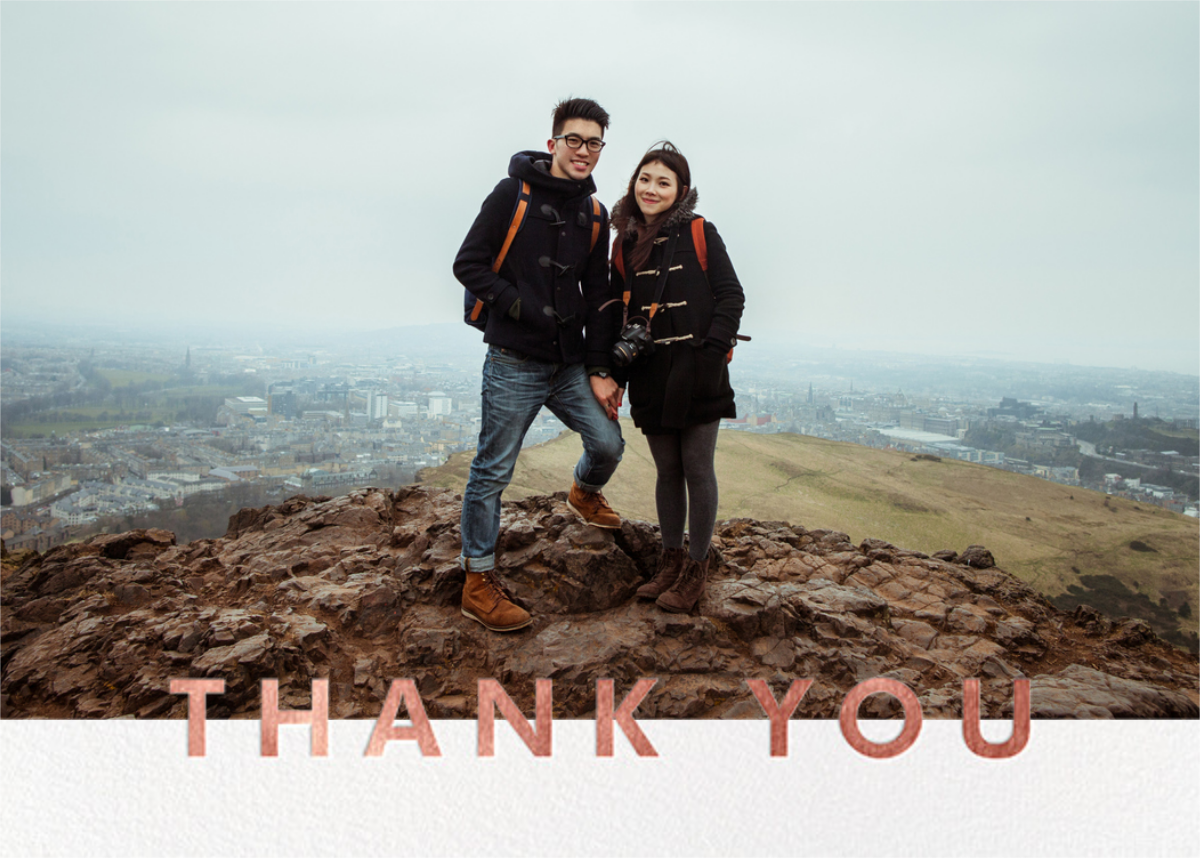 Field of Thanks Photo (Double-Sided) - Rose Gold - Paperless Post - Thank you