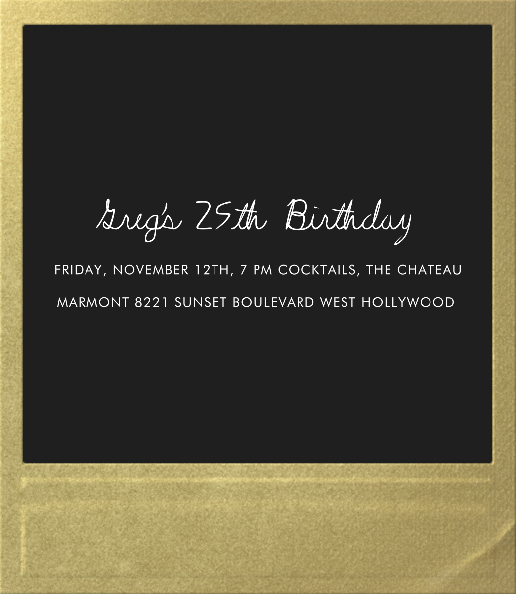 Snapshot Gold (Double Sided) - Square - Paperless Post - Adult birthday - card back