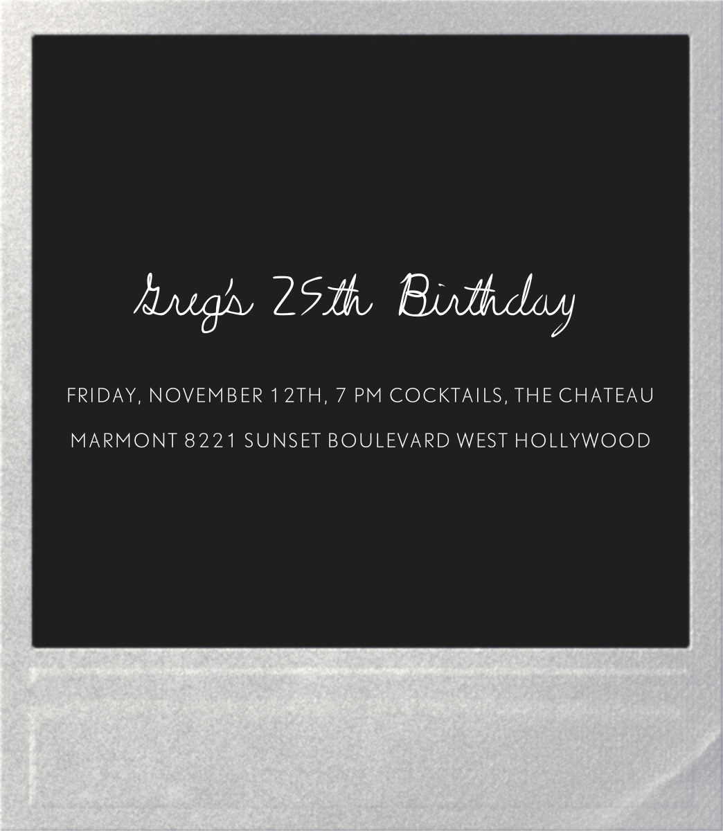 Snapshot Silver (Double Sided) - Square - Paperless Post - Adult birthday - card back