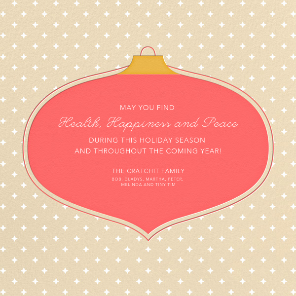 Ornament Wishes - Wheat - Paperless Post - Holiday cards - card back