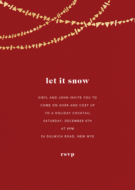 Streamer Shapes (Tall) - Crimson/Gold - Paperless Post - Winter parties