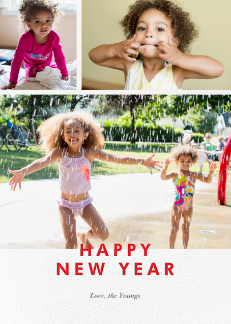 New Year Cutouts (Tall Multi-Photo) - Red - Paperless Post