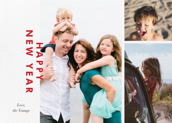 New Year Cutouts (Horizontal Multi-Photo) - Red - Paperless Post