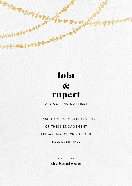 Streamer Shapes (Tall) - White/Gold - Paperless Post - Engagement party