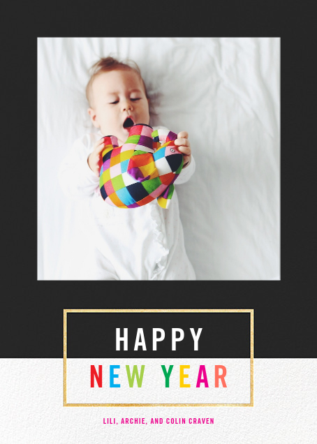 Bright and Bold - Caviar/Gold - Paperless Post - New Year