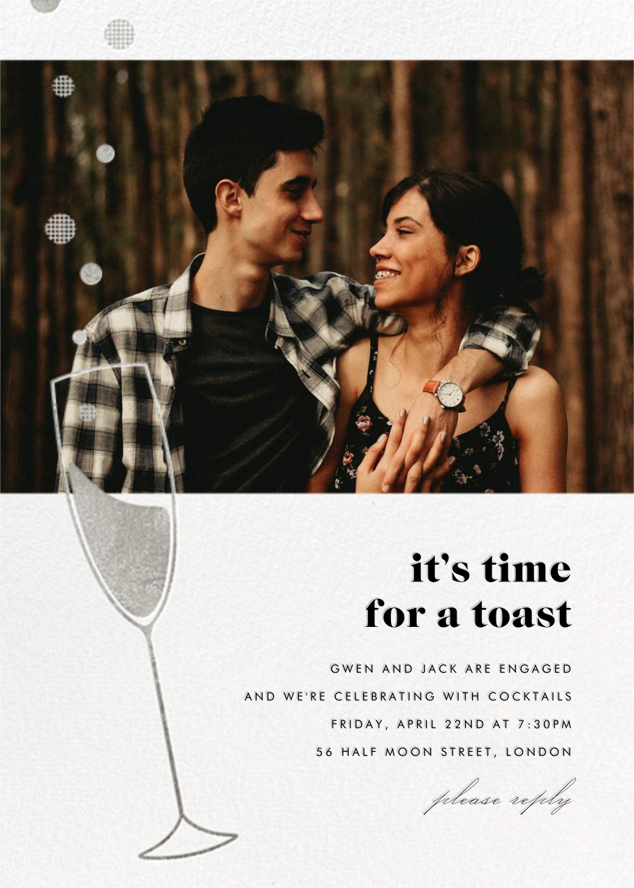 Champagne Bubbles (Photo) - Silver - Paperless Post - Engagement party