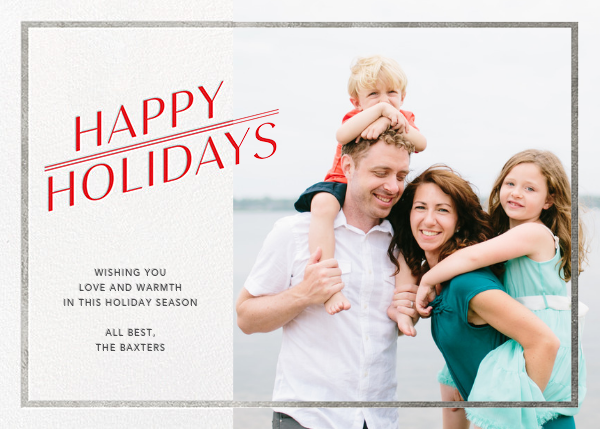 Red-Letter Holiday - Silver - Paperless Post - Holiday cards