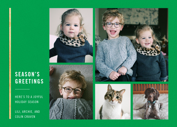 Carreaux (Multi-Photo) - Emerald/Gold - Paperless Post - Holiday cards