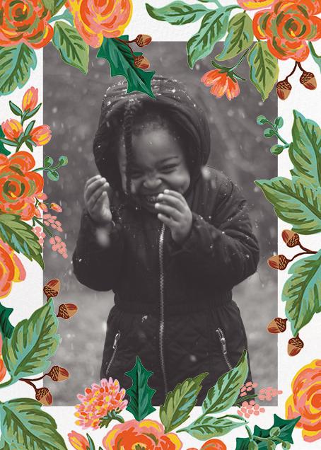 Jardin Noel Border (Portrait Photo) - White - Rifle Paper Co. - Holiday cards