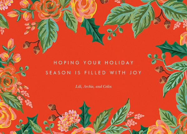 Jardin Noel Border (Landscape Photo) - Red - Rifle Paper Co. - Holiday cards - card back
