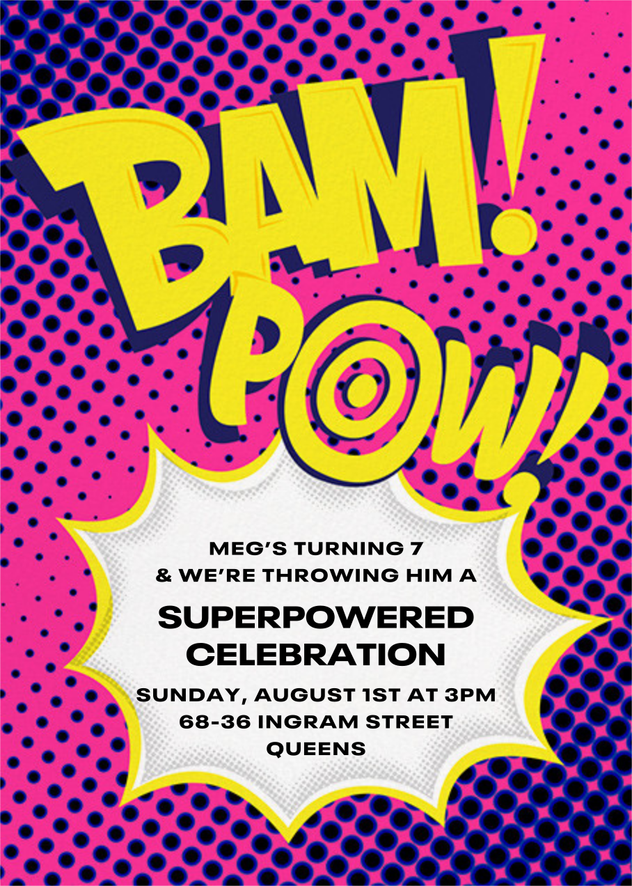 Bam Bam Pow - Pink - Paperless Post - Kids' birthday