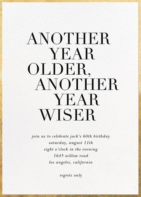 Older and Wiser - White - Sugar Paper - Adult birthday