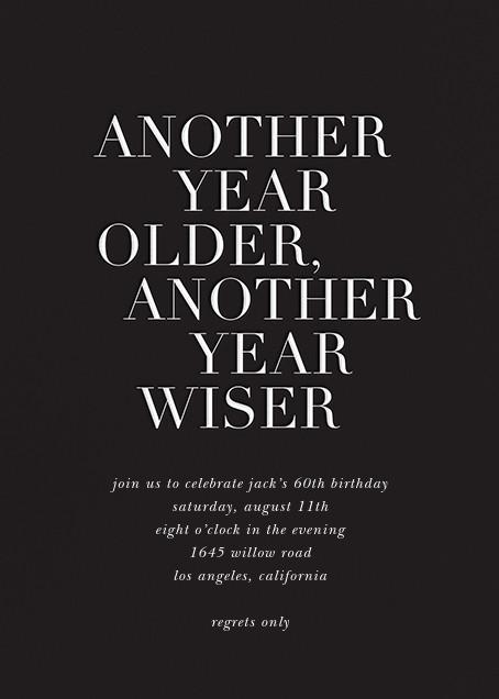Older and Wiser - Black - Sugar Paper - Adult birthday