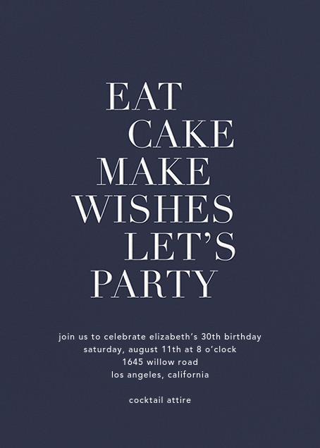 Eat Cake Make Wishes - Navy/White - Sugar Paper - Adult birthday