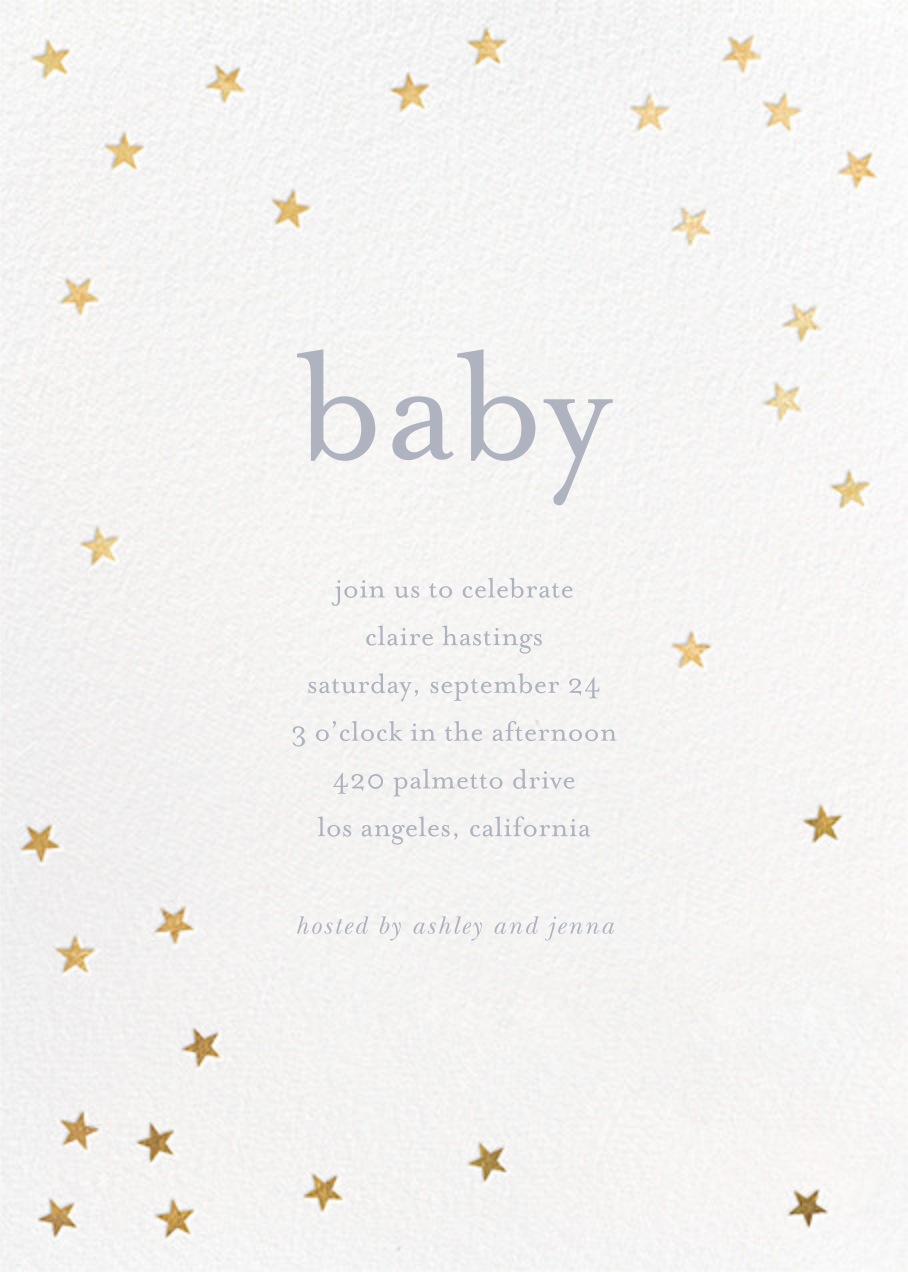 Scattered Stars - White/Gold - Sugar Paper - Baby shower