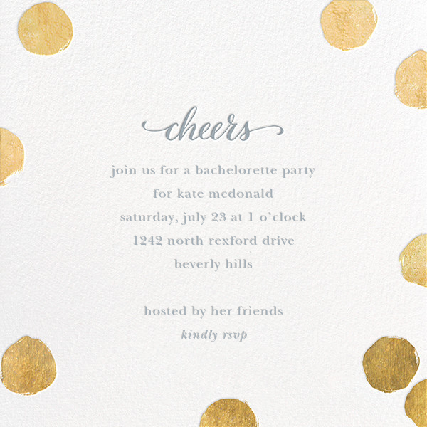 Big Dot Cheers - Gold - Sugar Paper - Bachelorette party