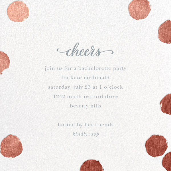 Big Dot Cheers - Rose Gold - Sugar Paper - Bachelorette party