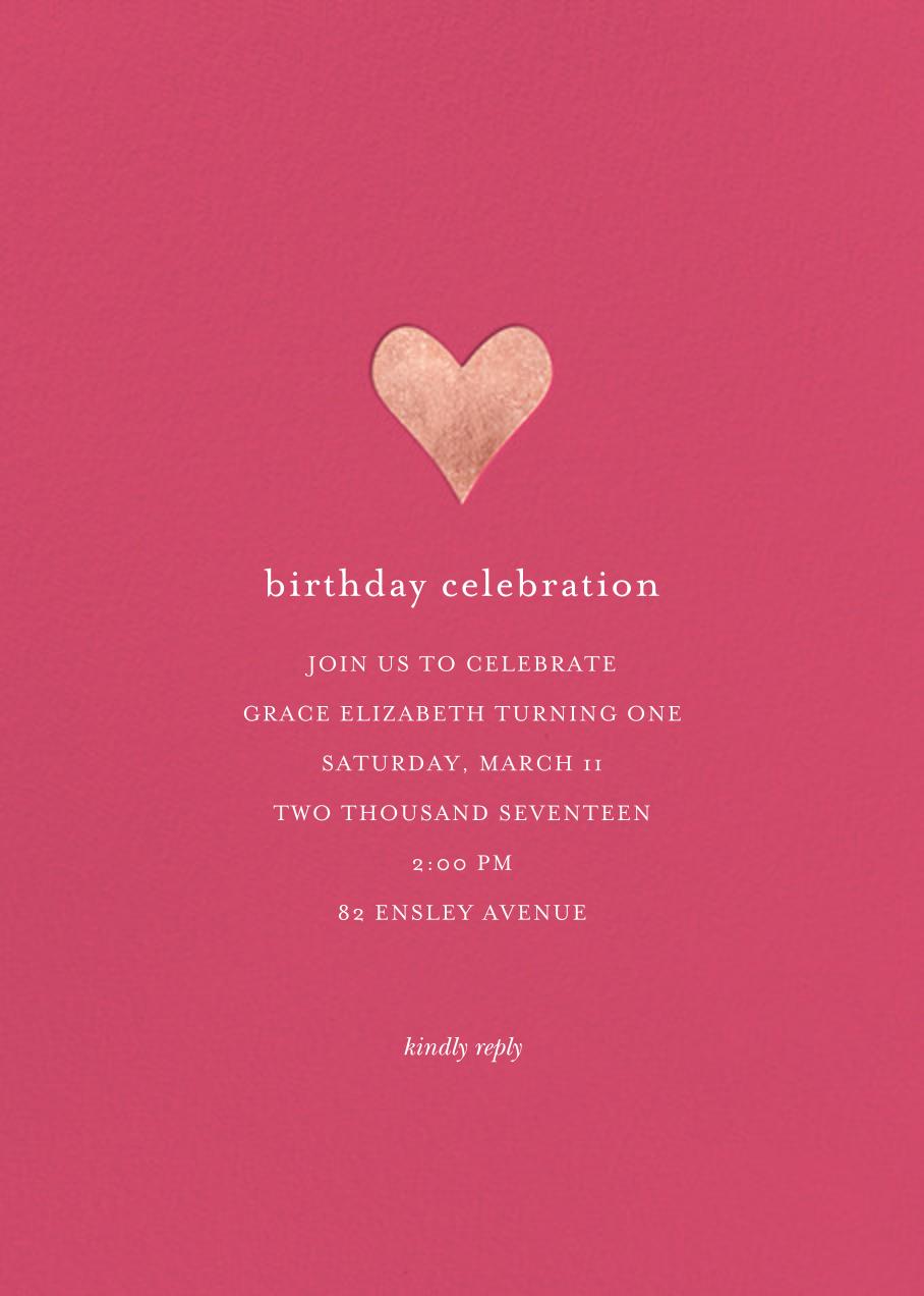 Luminous Heart - Rhubarb/Rose Gold - Sugar Paper - Kids' birthday