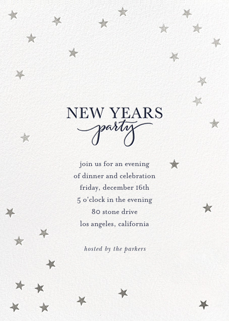 Starry New Year - White/Silver - Sugar Paper - New Year's Eve