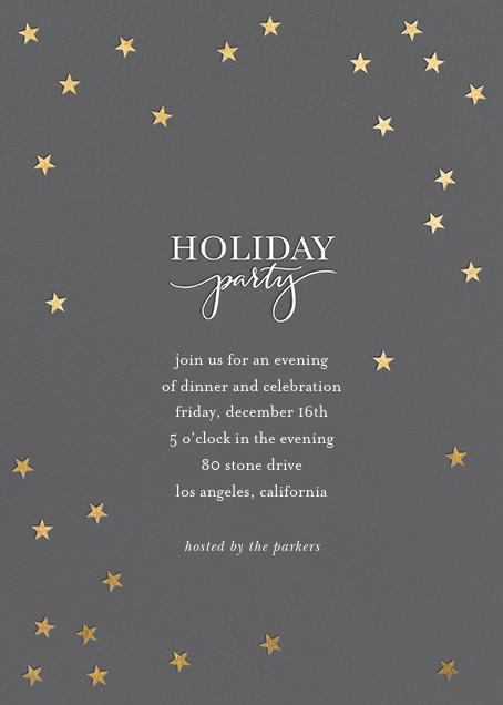 Starry Holiday - Charcoal/Gold - Sugar Paper - Holiday party